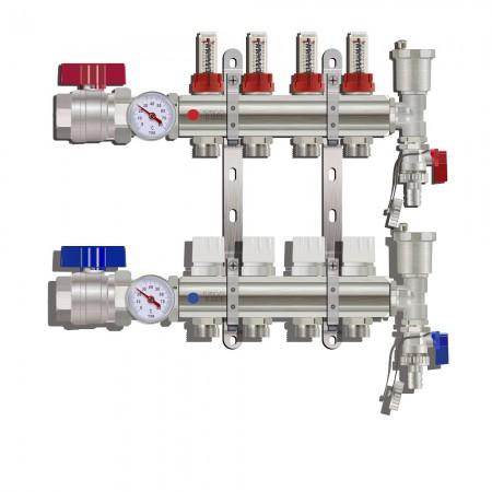 Коллектор латунный TIM 12 контуров с расходомерами, в сборе