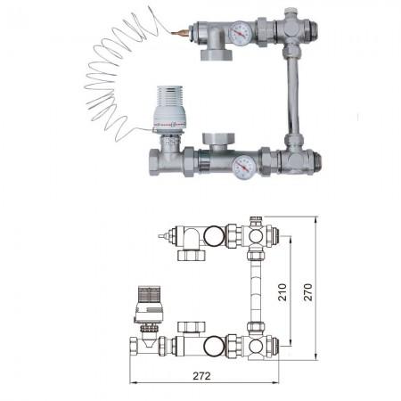 Насосно-смесительный узел TIM 20-60°С для теплых полов с байпасом, без насоса (JH1032)