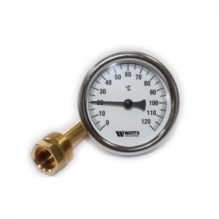 """Термометр торцевой погружной 1/2"""" Watts (D-63мм, 0-120°C, гильза 42мм)"""