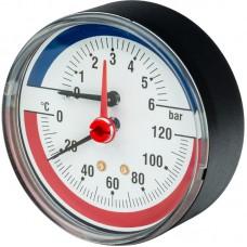 """Термоманометр торцевой погружной 1/2"""" TIM (D-80мм, 0-120°C, 0-6 bar гильза 42мм)"""
