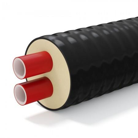 Труба теплоизолированная двухтрубная ТВЭЛ-ПЭКС-2К (ИЗОПЭКС) 2х58,5х4,0/180 (2х63/180) 10 бар армированная для теплотрассы